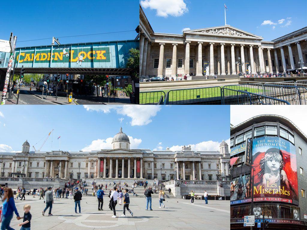 カムデン・マーケット, 大英博物館, ロンドン・ナショナル・ギャラリー, クイーンズ・シアター, レ・ミゼラブル, イギリス, ロンドン, 旅行